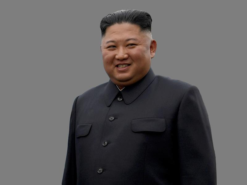 Kim Jong Un, as North Korean Leader, graphic element on gray