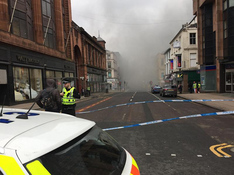 The scene in Glasgow city centre where firefighters are tackling a large blaze in Sauchiehall Street near the junction with Hope Street: PA