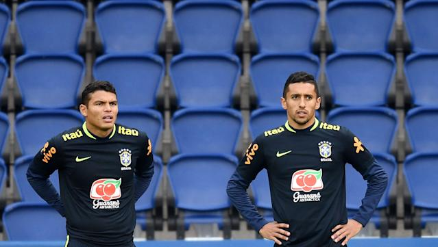 Thiago Silva and Marquinhos, club teammates at PSG, are battling for one spot in the Brazil starting lineup. (Getty)