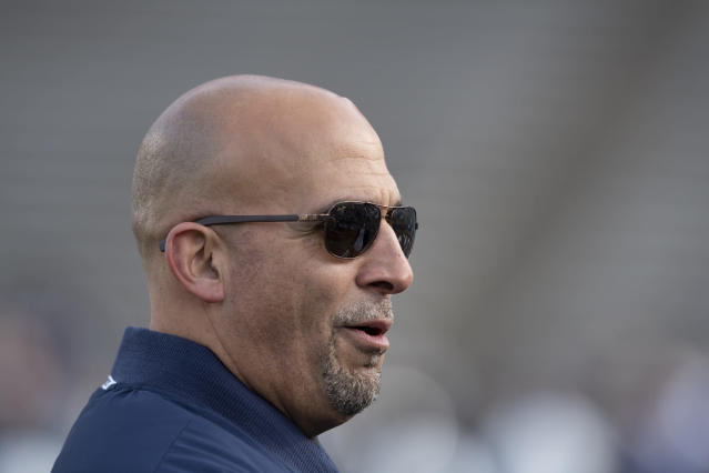 Penn State head coach James Franklin has a new contract with the school after a 10-2 regular season. (AP Photo/Barry Reeger)