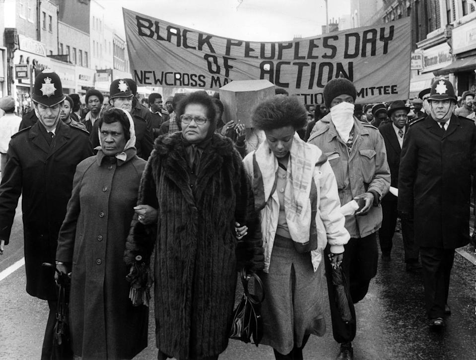 Protesters marched through London on the Black People's Day of Action (BBC/Rogan Productions/Getty Images)