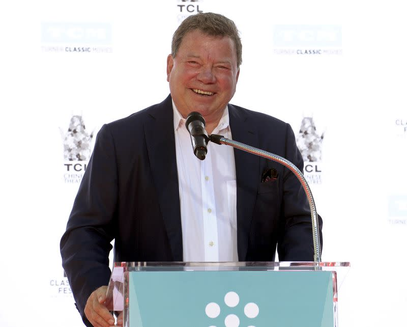 FILE PHOTO: Actor Shatner speaks during a handprint and footprint ceremony honoring actor Plummer at the TCL Chinese Theatre in Los Angeles