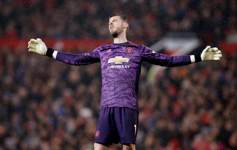 "Soccer Football - Premier League - Manchester United v Arsenal - Old Trafford, Manchester, Britain - September 30, 2019 Manchester United's David de Gea reacts REUTERS/Andrew Yates EDITORIAL USE ONLY. No use with unauthorized audio, video, data, fixture lists, club/league logos or ""live"" services. Online in-match use limited to 75 images, no video emulation. No use in betting, games or single club/league/player publications. Please contact your account representative for further details."