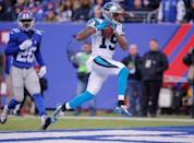 Dec 20, 2015; East Rutherford, NJ, USA; Carolina Panthers wide receiver Ted Ginn (19) scores touchdown during the third quarter against the New York Giants at MetLife Stadium. Mandatory Credit: Jim O'Connor-USA TODAY Sports