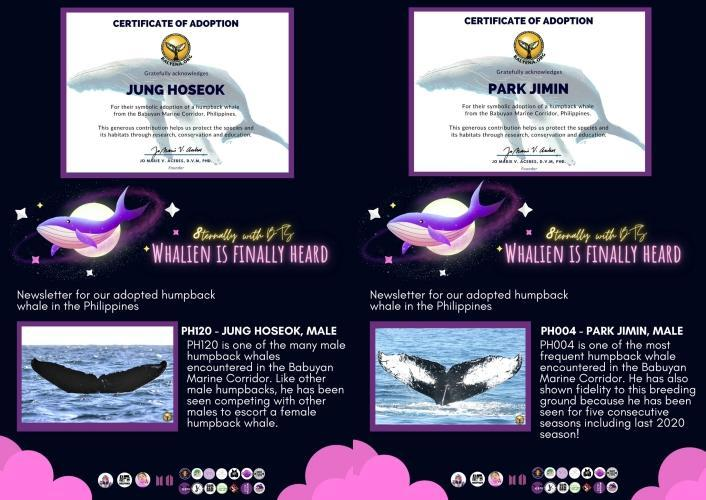 Jung Hoseok's whale is sponsored by Perfect JHOPE PH and Joviegil (Army Wings Ph); Park Jimin's whale is sponsored by ARMY of Cebu, Bangtan Boys PH, BTS Unnies PH