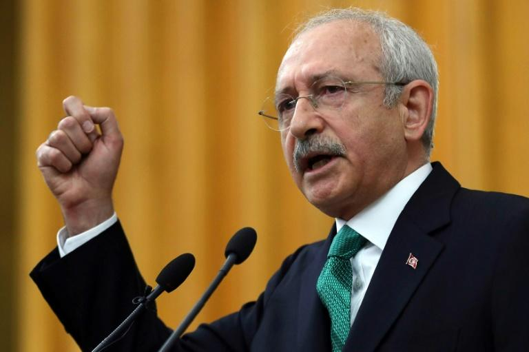 Kemal Kilicdaroglu, leader of Turkey's main opposition party the Republican People's Party (CHP), speaks at the Turkish parliament in Ankara, on April 18, 2017