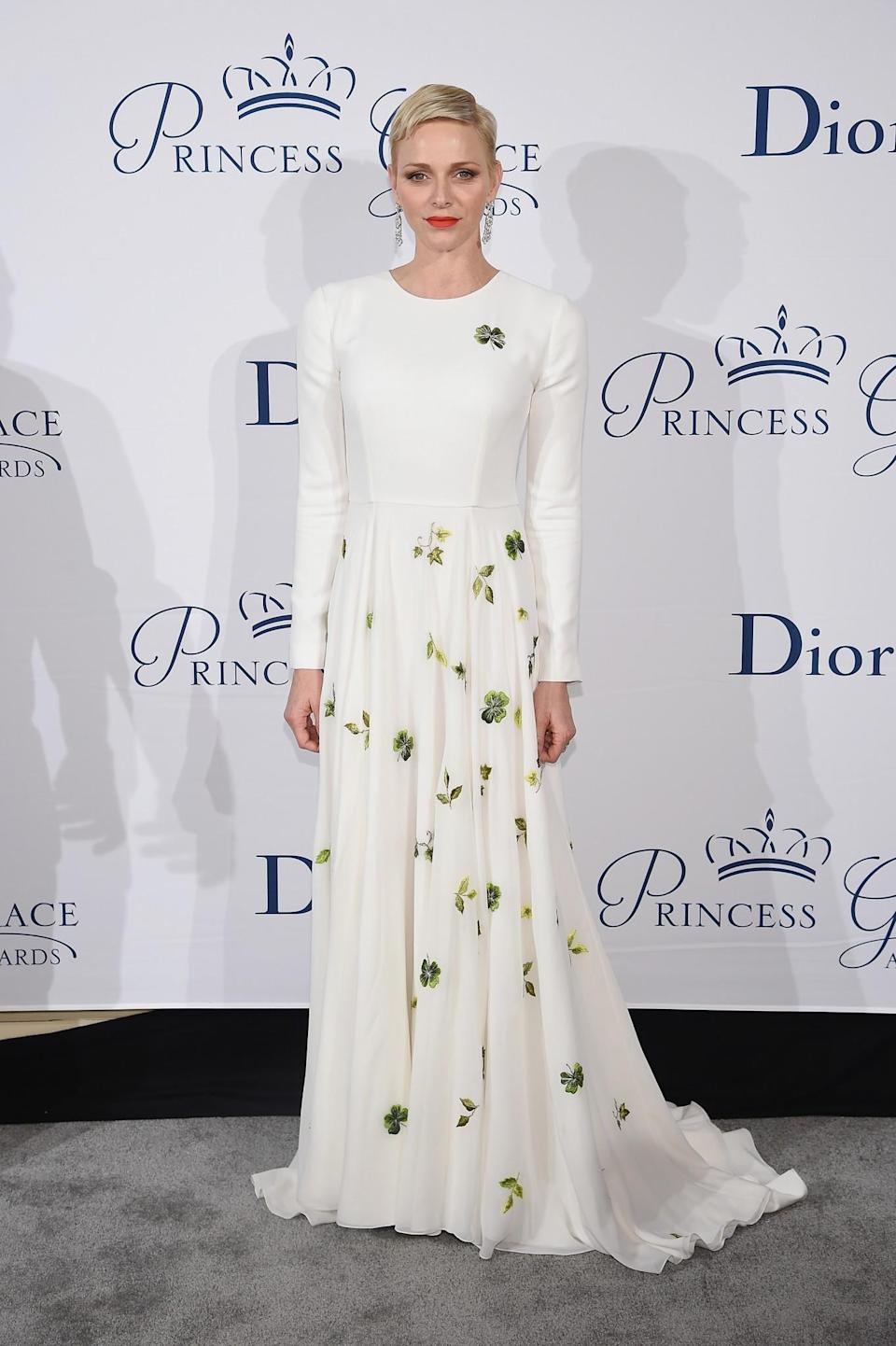 <p>Charlene is a walking Disney princess. Her chic cropped hair and penchant for fashion-forward white gowns makes her a style winner each and every time. <i>[Photo: Getty]</i> </p>