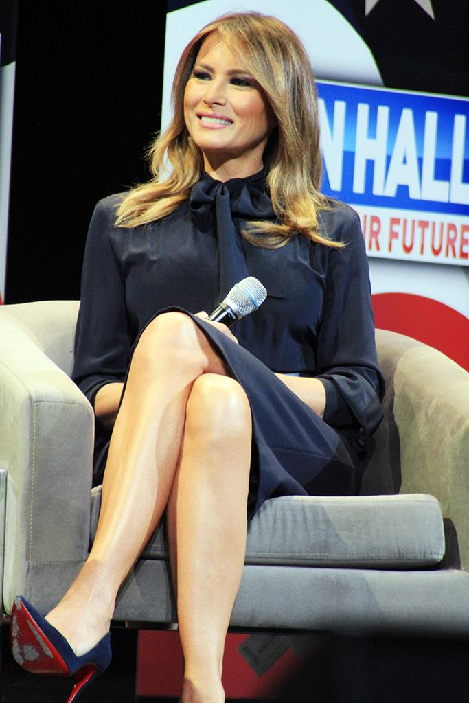christian louboutin pumps, so kate, Melania Trump, Eric Bolling. First lady Melania Trump, right, participates in a town hall on the opioid epidemic with moderator Eric Bolling in Las Vegas, during a two-day, three-state swing to promote her Be Best campaignMelania Trump, Las Vegas, USA - 05 Mar 2019