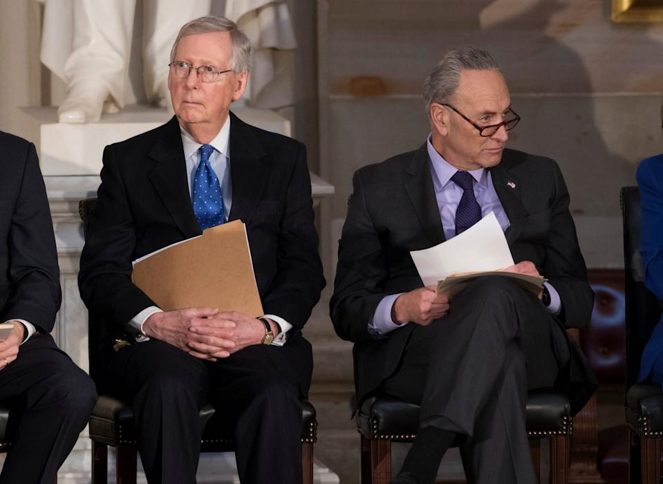 Senate Majority Leader Mitch McConnell, left, and Senate Democratic leader Charles Schumer.