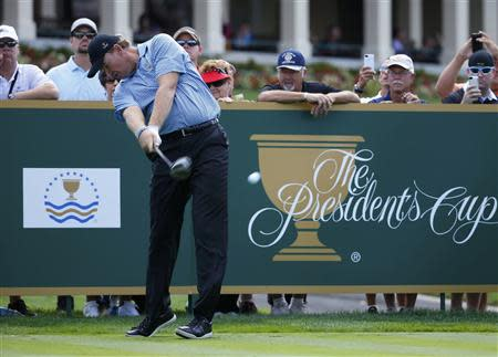 South African golfer Ernie Els hits a driver off the tee during the first practice round for the 2013 Presidents Cup golf tournament at Muirfield Village Golf Club in Dublin, Ohio
