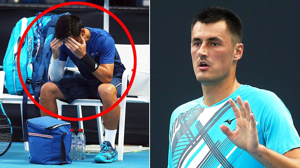 Pictured here, Bernard Tomic shows concern for his Japanese opponent Yuichi Sugita.