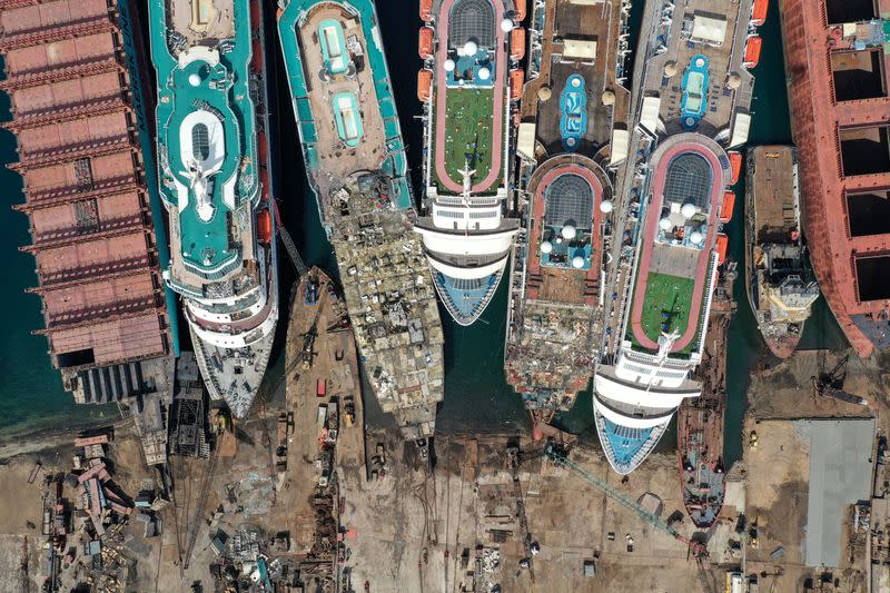 FILE PHOTO: A drone image shows decommissioned cruise ships being dismantled at Aliaga ship-breaking yard in the Aegean port city of Izmir