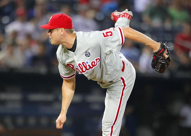 Philadelphia Phillies relief pitcher Jonathan Papelbon (58) delivers in the ninth inning of a baseball game against the Atlanta Braves Tuesday, June 17, 2014, in Atlanta. (AP Photo/Todd Kirkland)