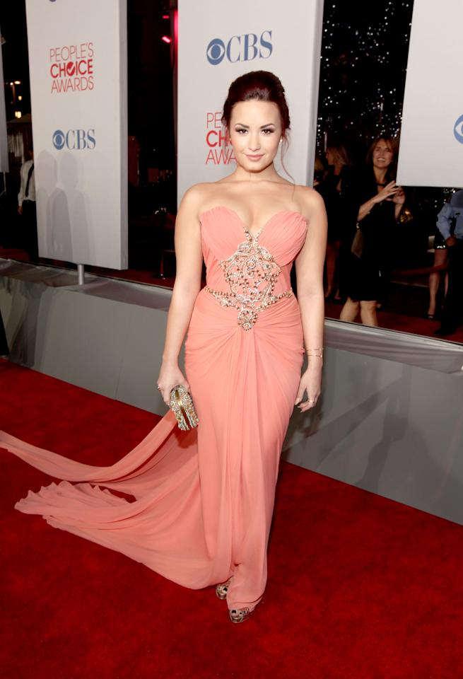 LOS ANGELES, CA - JANUARY 11:  Actress Demi Lovato arrives at the 2012 People's Choice Awards at Nokia Theatre L.A. Live on January 11, 2012 in Los Angeles, California.  (Photo by Christopher Polk/Getty Images for PCA)