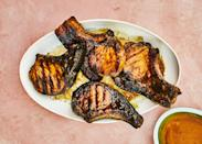 "For this grilled pork chops recipe, don't be afraid of getting a good char here. It just means the sugars in the glaze are caramelizing (not that the meat is burning), resulting in deep, complex flavor. Try this glaze on shrimp, whole fish, chicken breasts, slab bacon, or beef skewers. <a href=""https://www.bonappetit.com/recipe/grilled-pork-chops-with-pineapple-turmeric-glaze?mbid=synd_yahoo_rss"" rel=""nofollow noopener"" target=""_blank"" data-ylk=""slk:See recipe."" class=""link rapid-noclick-resp"">See recipe.</a>"