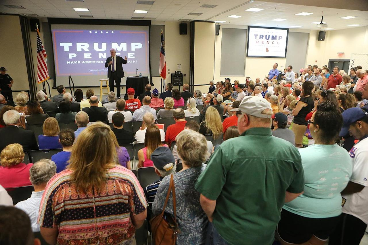 Republican presidential candidate Donald Trump surrogate and onetime Georgia lawmaker Newt Gingrich hosts a town hall at Kennesaw State University on Monday, Sept. 12, 2016, in Kennesaw, Ga. (Curtis Compton/Atlanta Journal-Constitution via AP)