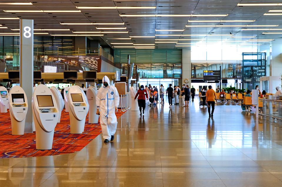 Singapore Jun2020 Covid-19 Changi Airport. A quiet uncrowded Terminal 3; few tourists travellers. Essential business travel between Singapore & China to reopen early July; ease restrictions on flights