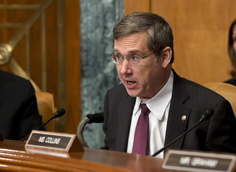 FILE - In this June 6, 2013, file photo, Sen. Mark Kirk, R-Ill., speaks during a Senate Appropriations subcommittee hearing in Washington. Key Democratic and Republican senators are crafting legislation to reinstate the full force of Iran sanctions and impose new ones if Tehran doesn't make good on its pledge to roll back its nuclear program, brushing aside the Obama administration's fears about upending its diplomatic momentum. Sen. Bob Menendez, D-N.J., and Kirk hope to have the bill ready for other lawmakers to consider when the Senate returns Dec. 9 from its two-week recess, according to legislative aides. (AP Photo/J. Scott Applewhite, File)