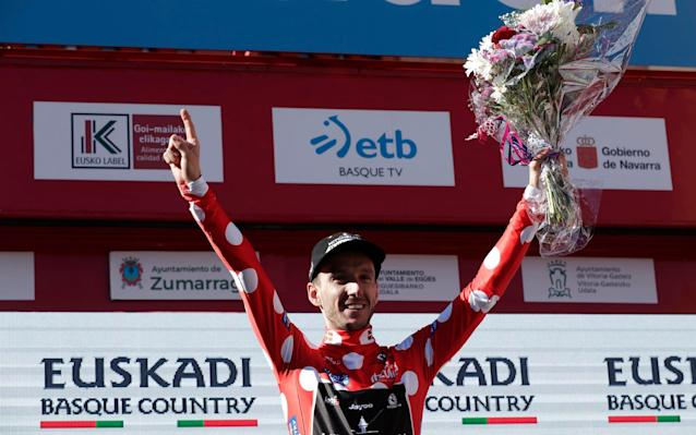 Adam Yates celebrates stage win as Tour of Basque Country - Velo