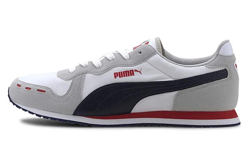sneakers, red, white, gray, puma