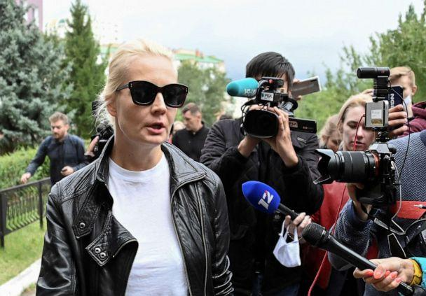 PHOTO: Yulia Navalnaya, wife of Russian opposition leader Alexei Navalny, speaks with the media outside a hospital, where Alexei receives medical treatment in Omsk, Russia August 21, 2020. (Alexey Malgavko/Reuters)