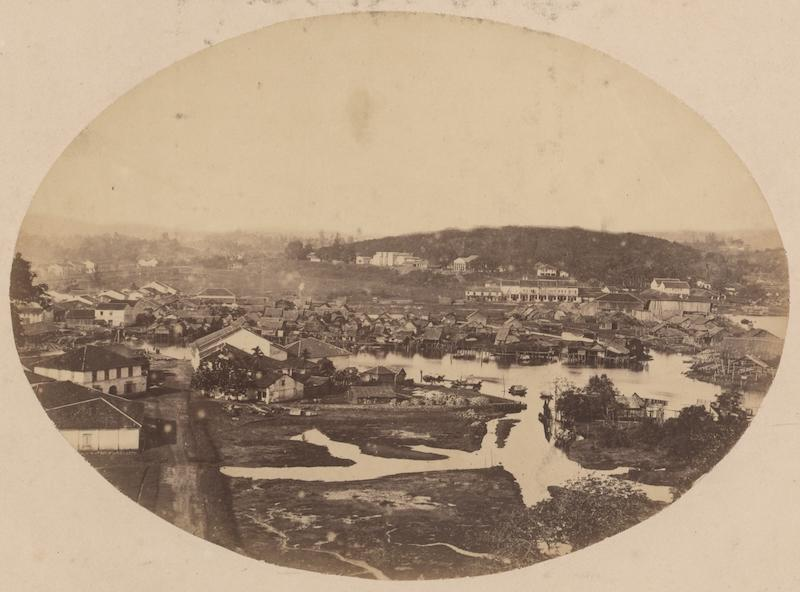 This 1863 photograph shows a view of the Singapore River taken from Fort Canning Hill. Kampong Saigon can be seen in the middle of the photograph. In the distance can be seen Pearl's Hill with the hospital already built. (From the Lee Kip Lin Collection. All rights reserved. Lee Kip Lin and National Library Board, Singapore 2009.)