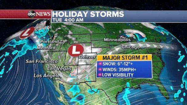 PHOTO: A major storm will bring major winter impacts to a large part of the west coast, with locally over 2 feet in some of the mountains, and possible flash flooding in southern California. (ABC News)