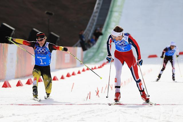 SOCHI, RUSSIA - FEBRUARY 20: Joergen Graabak of Norway (R) beats Fabian Riessle of Germany in the Nordic Combined Men's Team 4 x 5 km during day 13 of the Sochi 2014 Winter Olympics at RusSki Gorki Jumping Center on February 20, 2014 in Sochi, Russia. (Photo by Richard Heathcote/Getty Images)