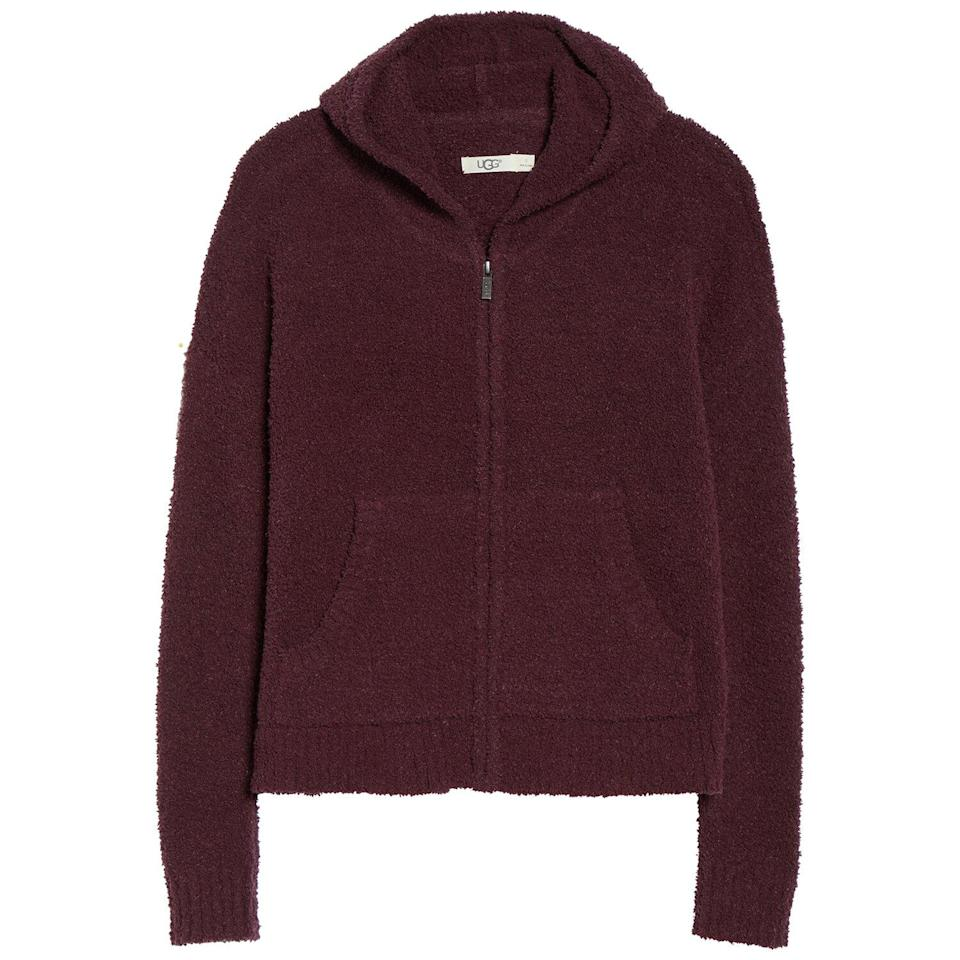 """<p>If you run cold even indoors, this fuzzy hoodie is a must. It's made of soft fleece for a comfy layer you can wear with matching sweats or any loungewear around the house.</p> <p><strong>To buy</strong>: $74 (was $98); <a href=""""https://click.linksynergy.com/deeplink?id=93xLBvPhAeE&mid=1237&murl=http%3A%2F%2Fshop.nordstrom.com%2Fs%2Fugg-kyleigh-fuzzy-zip-hoodie%2F5118440%2Ffull&u1=RS%2CNordstromQuietlyMarkedDownPricesonSoManyComfyEssentials%2Cjmastrop%2CCLO%2CIMA%2C697481%2C202003%2CI"""" rel=""""nofollow noopener"""" target=""""_blank"""" data-ylk=""""slk:nordstrom.com"""" class=""""link rapid-noclick-resp"""">nordstrom.com</a>.</p>"""