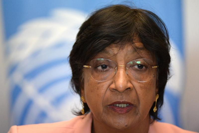United Nations High Commissioner for Human Rights Navi Pillay gives a press conference in Rabat, Morocco on May 29, 2014 (AFP Photo/Fadel Senna)