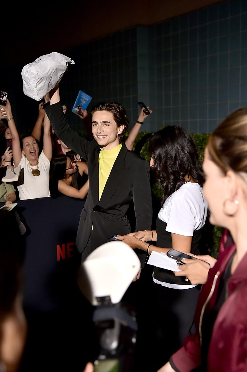 Timothée Chalamet Handed Out Bagels at the New York Premiere of The King