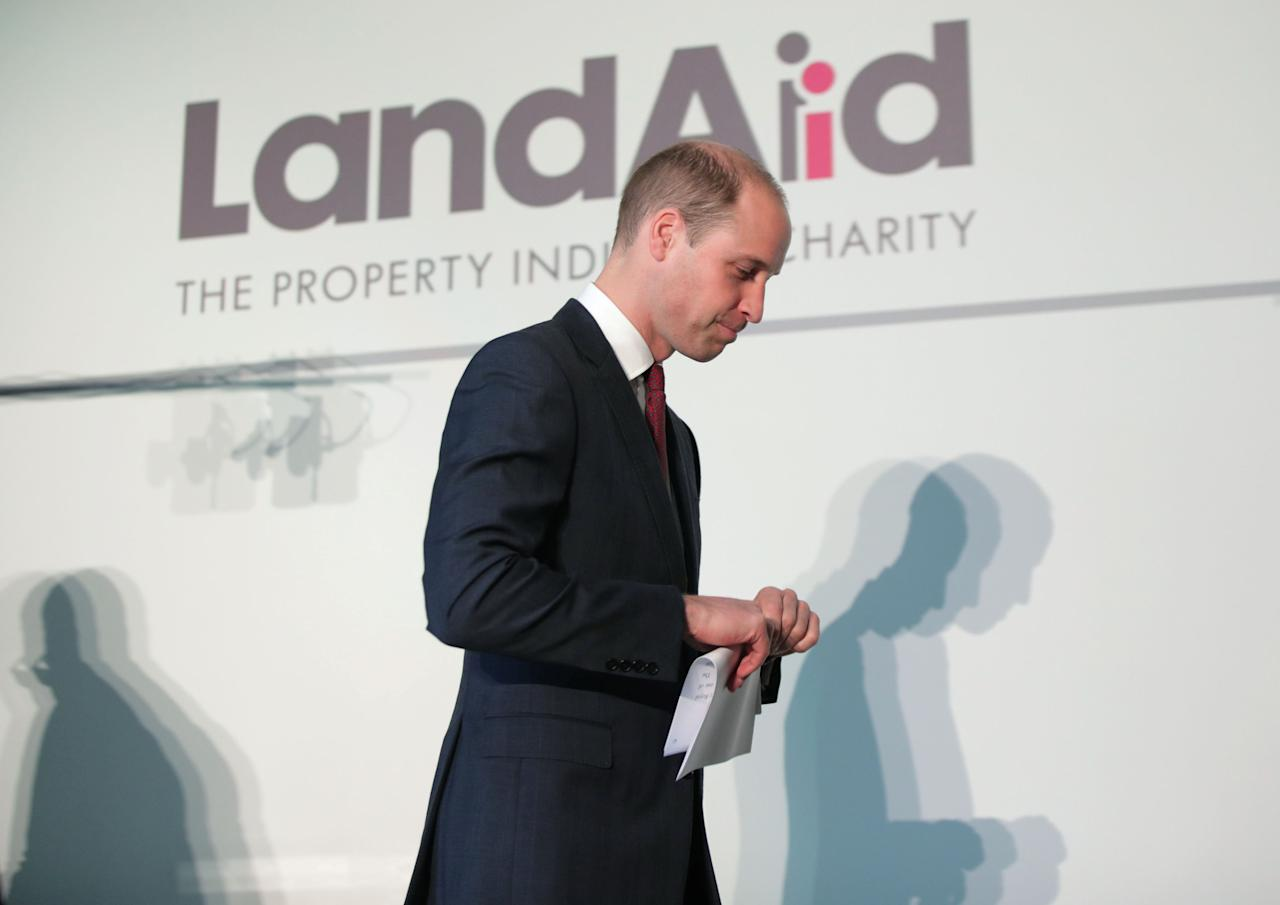 Britain's Prince William attends the launch of LandAid's Pledge150 campaign at the Royal Institution of Chartered Surveyors, in London, Britain, November 17, 2017. REUTERS/Yui Mok/Pool