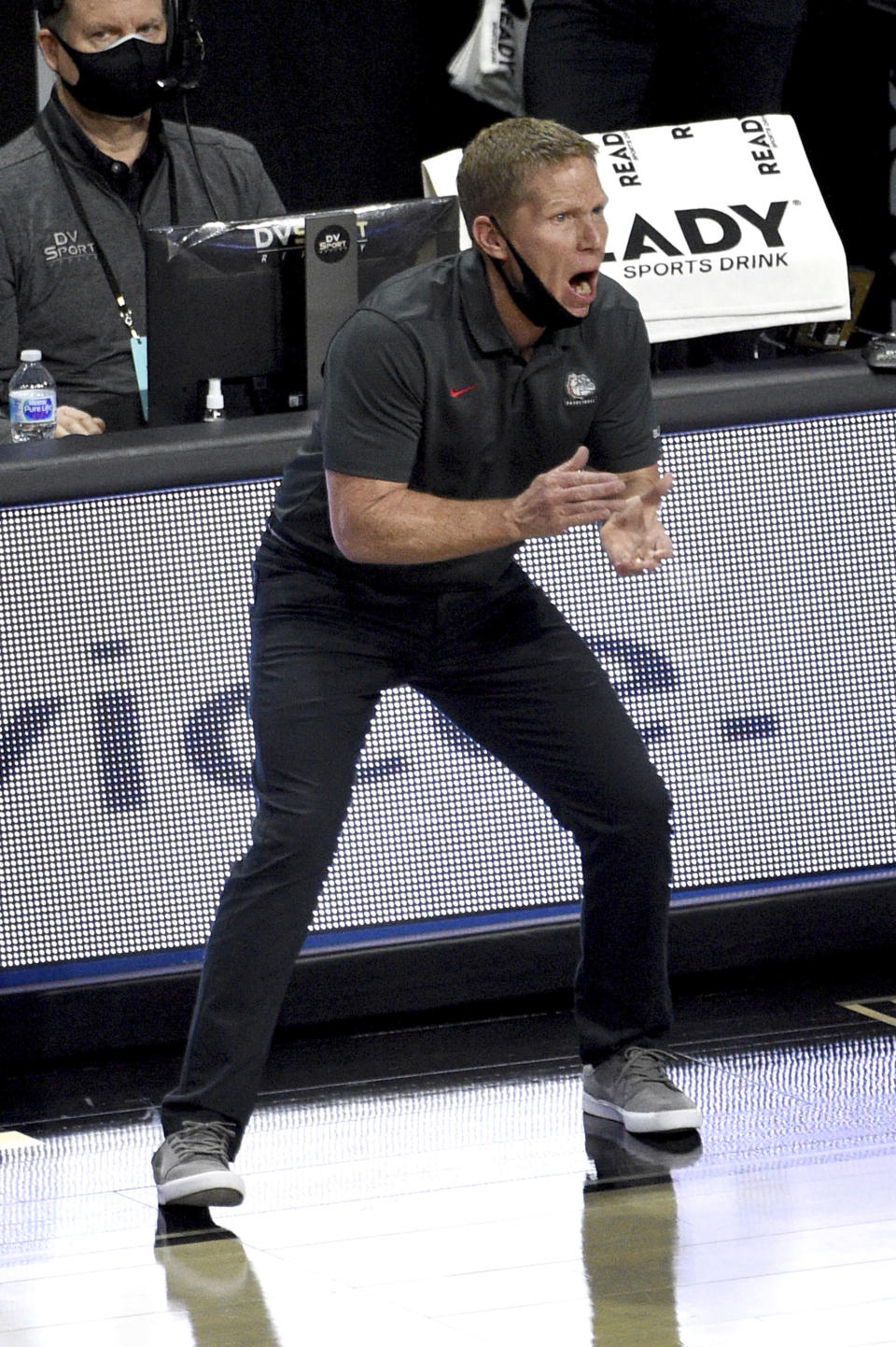 Gonzaga head coach Mark Few calls to his team during the first half of an NCAA semifinal college basketball game against Saint Mary's at the West Coast Conference tournament Monday, March 8, 2021, in Las Vegas. (AP Photo/David Becker)