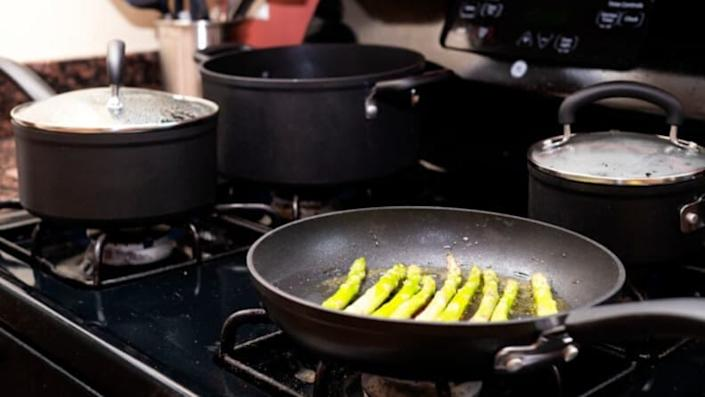 A nonstick cookware set for easy cleaning