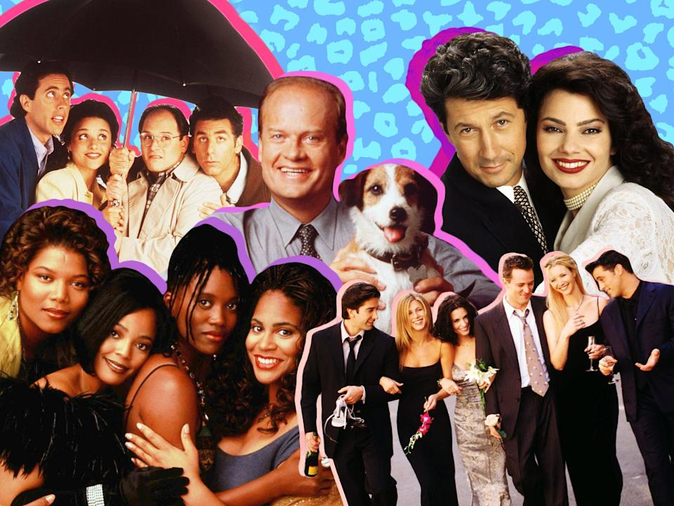 Clockwise from centre: Kelsey Grammer and Moose the dog in Frasier; Charles Shaughnessy and Fran Drescher in The Nanny; the cast of Friends; Queen Latifah, Kim Fields, Erika Alexander and Kim Coles in Living Single (l-to-r); the cast of Seinfeld (Getty/Shutterstock)