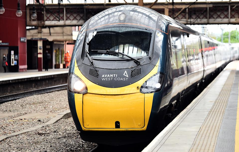 An Avanti West Coast train at Stoke-on-Trent Train Station. Photo: Nathan Stirk/Getty Images