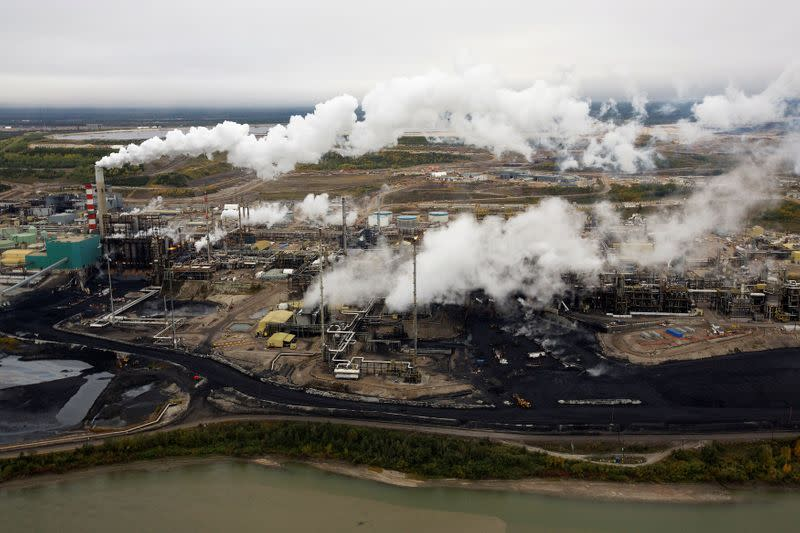 FILE PHOTO: The Suncor tar sands processing plant near the Athabasca River at their mining operations near Fort McMurray.