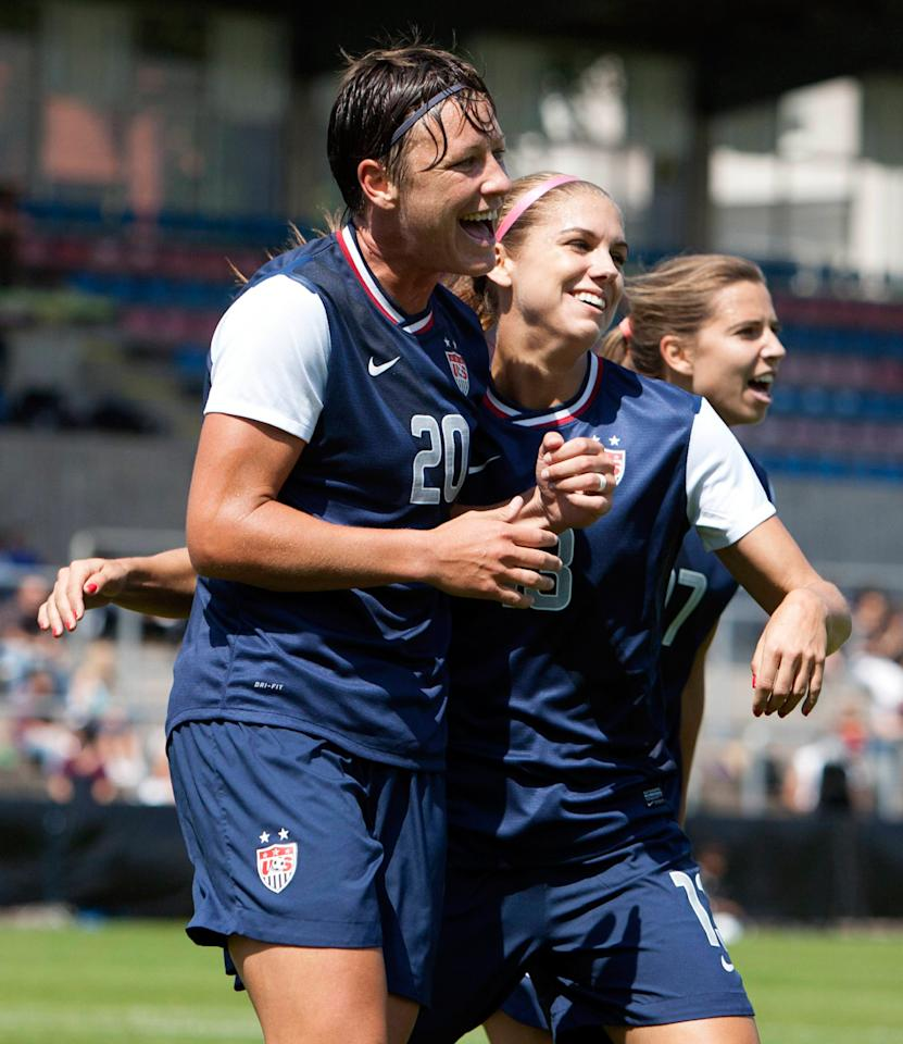HALMSTAD, SWEDEN - JUNE 18: Abby Wambach (L) of USA celebrates her goal with Alex Morgan during the Swedish Invitational Women's Volvo Cup match between Japan and USA on June 18, 2012 in Halmstad, Sweden. (Photo by Berndt Wennebrink/Getty Images)