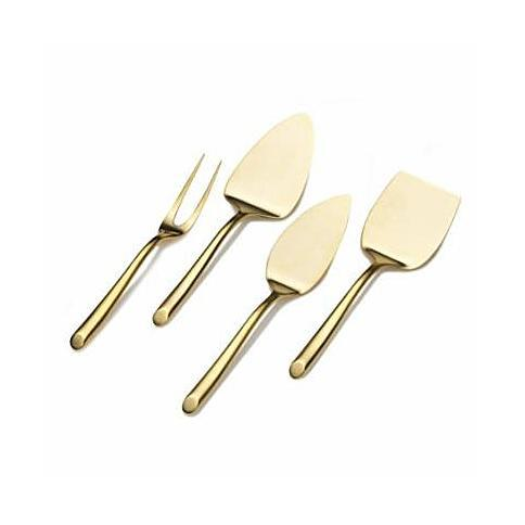 Towle Living Wave 4-Piece 24K Gold-Plated Stainless Steel Cheese Server Set (Credit: Amazon)