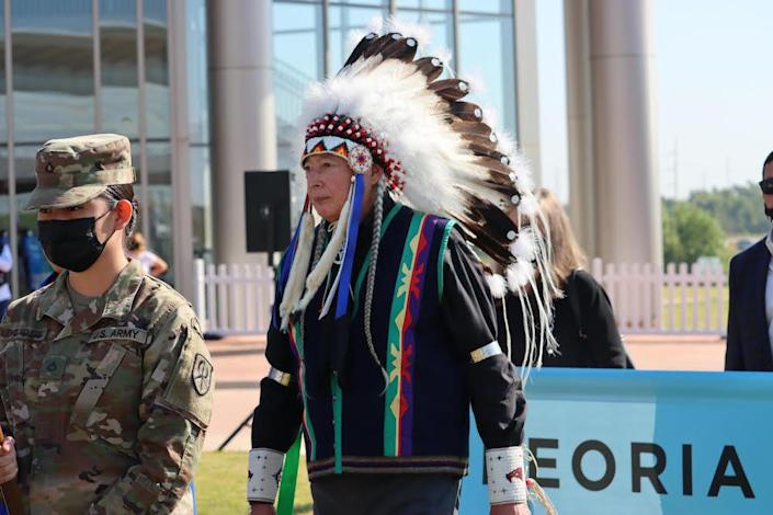 Walter Echohawk, Pawnee attorney, participates in the grand opening of the First Americans Museum in Oklahoma City on Saturday, September 18, 2021. (Photo/Darren Thompson for Native News Online)
