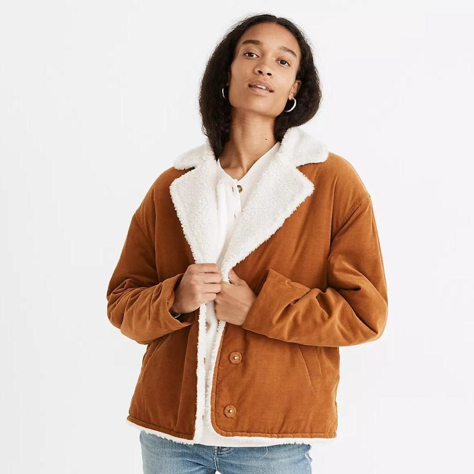 """Corduroy and sherpa-lined? We can hear the sound of crunching leaves already. $168, Madewell. <a href=""""https://www.madewell.com/%28re%29sourced-sherpa-lined-corduroy-jacket-NB257.html?color=BR0036"""" rel=""""nofollow noopener"""" target=""""_blank"""" data-ylk=""""slk:Get it now!"""" class=""""link rapid-noclick-resp"""">Get it now!</a>"""