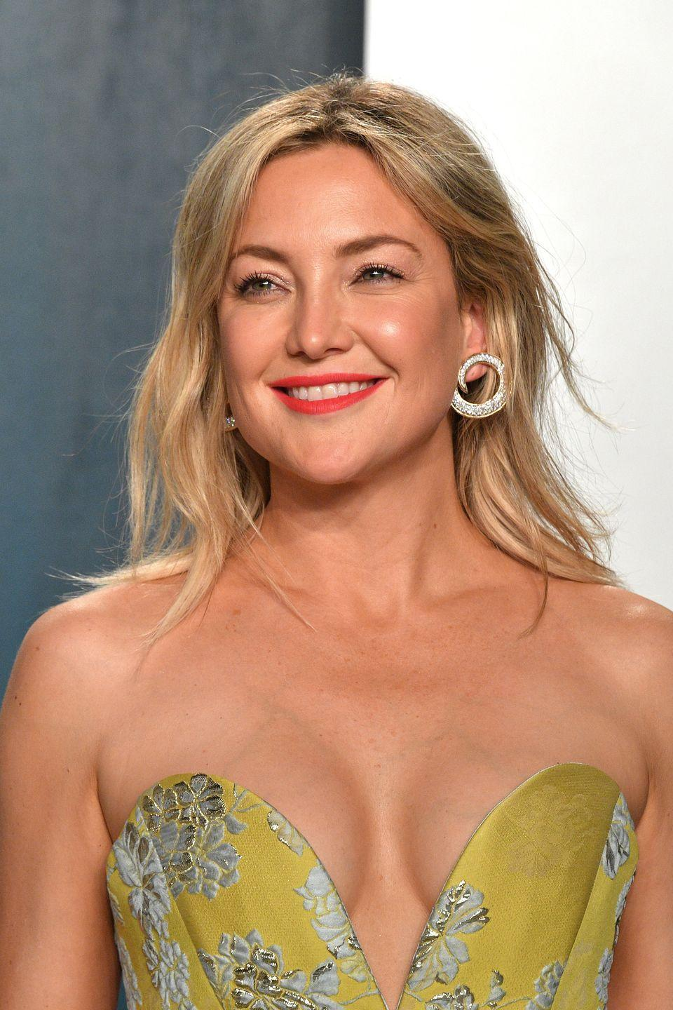 """<p>Kate Hudson sported a set of braces in high school, according to <a href=""""https://www.huffpost.com/entry/kate-hudson-glee-high-school-photo_n_1882473"""" data-ylk=""""slk:this yearbook photo"""" class=""""link rapid-noclick-resp"""">this yearbook photo</a>. No wonder her smile is so radiant!</p>"""