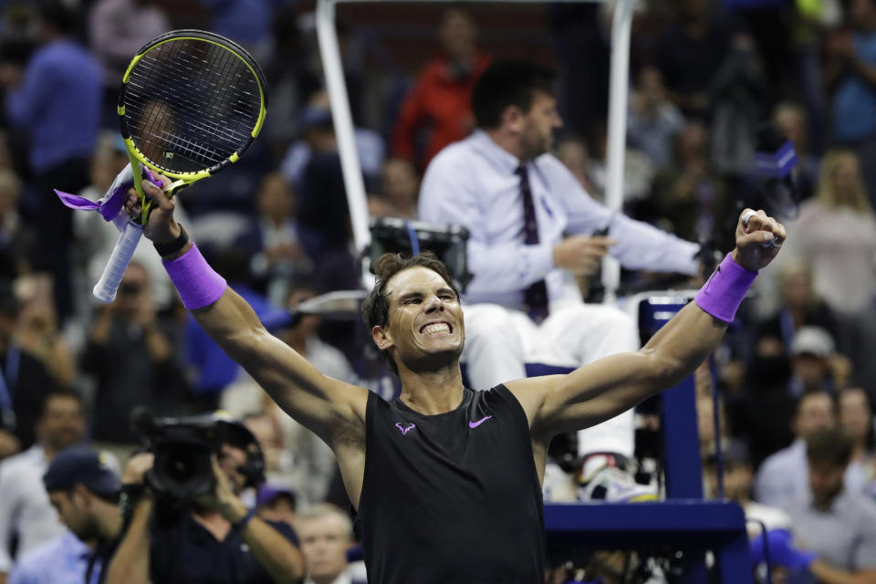 Rafael Nadal, of Spain, celebrates after defeating Matteo Berrettini, of Italy, in the men's singles semifinals of the U.S. Open tennis championships Friday, Sept. 6, 2019, in New York. (AP Photo/Adam Hunger)
