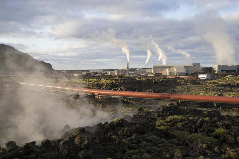 This photo taken Monday Oct. 28, 2019 shows the geothermal energy company HS Orka in Reykjanes, Iceland. The people of Iceland, who speak a unique dialect of Old Norse, are no longer protected from online fraud because of their linguistic isolation. Modern computer programs, sophisticated auto-translation systems and increased procession speed, has made residents much more vulnerable to computer scams. Recent scams have amounted to the largest thefts the island nation has ever seen with geothermal energy company HS Orka recently lost $1.5 million and a total of $13 million has been lost to foreign scammers over the past twelve months, the police estimate. (AP Photo/Egill Bjarnason)