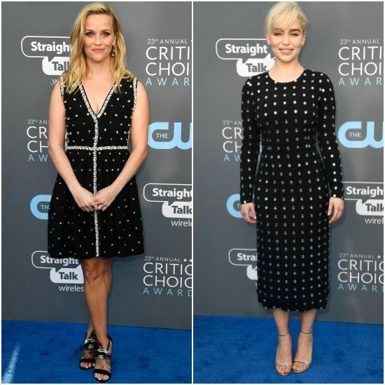 Big Little Lies star Reese Witherspoon and Game of Thrones actress Emilia Clarke wore the exact same print on the blue carpet. Photo: Getty Images