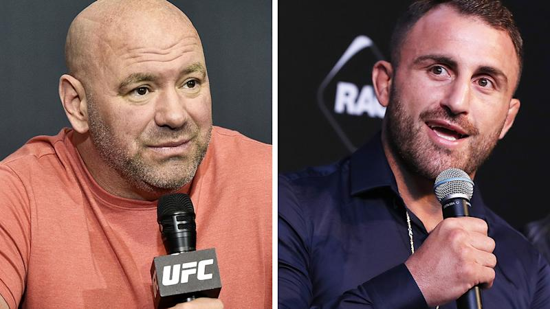 UFC president Dana White hasn't ruled out a potential trilogy fight between Aussie star Alexander Volkanovski and Max Holloway. Pictures: Getty Images
