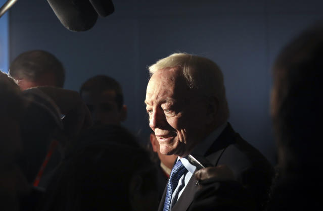 Cowboys owner Jerry Jones is standing behind his head coach after falling to 3-5 this season. (AP)