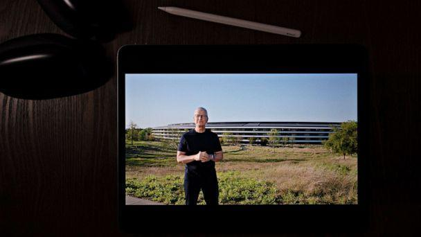 PHOTO: Apple CEO Tim Cook speaks during a virtual event to announce new Apple products, April 20, 2021. (Jae C. Hong/AP)