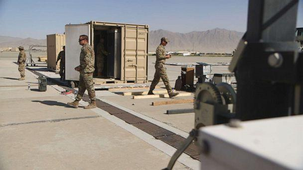 PHOTO: U.S. service members continue with troop withdrawal operations at Bagram Air Base in Afghanistan in June 2021. (ABC News)