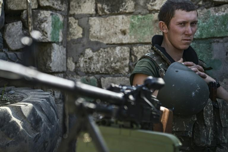 An Armenian soldier on the frontline of the fighting with Azerbaijan that has left more than 700 people dead